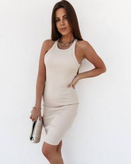 Γυναικείο εφαρμοστό φόρεμα 5774 ανοιχτό μπεζ