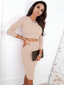 Γυναικείο σετ φούστα-μπλούζα 5973 μπεζ