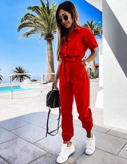 Γυναικεία ολόσωμη φόρμα με ζώνη 5612 κόκκινη