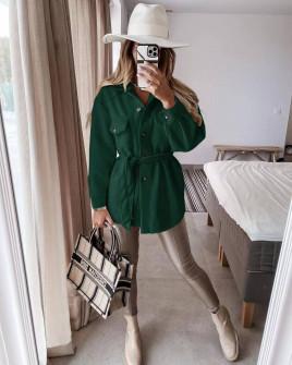 Γυναικείο κοντό παλτό με τσέπες 5945 πράσινο