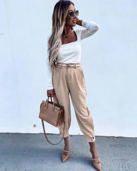 Εντυπωσιακό γυναικείο παντελόνι με ζώνη 5569 μπεζ