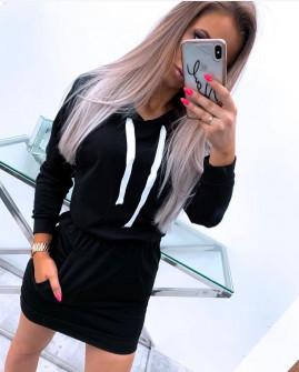 Γυναικείο σετ μπλούζα και φούστα 4002 μαύρο
