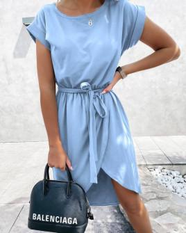 Γυναικείο φόρεμα κρουαζέ 30688 γαλάζιο