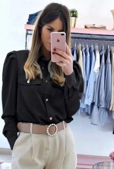 Γυναικείο πουκάμισο με τσέπες 2046 μαύρο