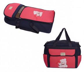 Σετ πορτ μπεμπέ και τσάντα 00453 σκούρο μπλε/φούξια