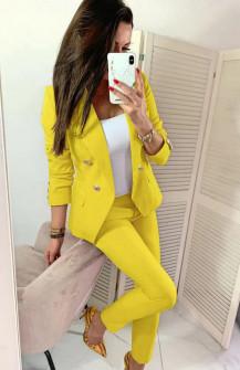 Γυναικείο σετ σακάκι και παντελόνι 2637 κίτρινο