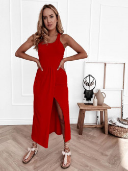 Γυναικείο φόρεμα με σκίσιμο 8215 κόκκινο