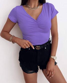 Γυναικεία μονόχρωμη μπλούζα 70191 μωβ