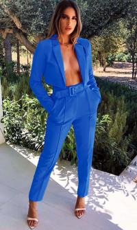 Γυναικείο σετ παντελόνι και κοντό σακάκι 3991 μπλε