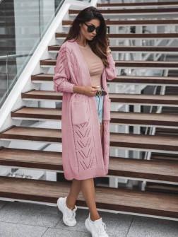 Γυναικεία μακριά ζακέτα 8034 ροζ