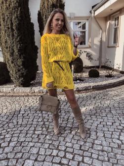 Γυναικείο πλεκτό μπλουζοφόρεμα 2715 κίτρινη