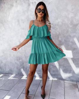 Γυναικείο κοντό κλος φόρεμα 5700 τυρκουάζ