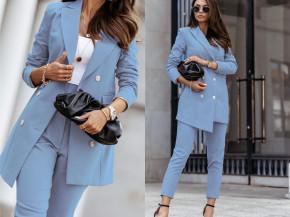 Γυναικείο σετ σακάκι και παντελόνι 8676 γαλάζιο