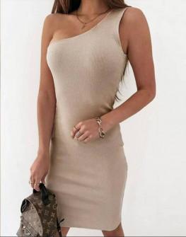 Γυναικείο έξωμο φόρεμα 22988 μπεζ