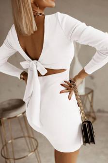 Γυναικείο φόρεμα με εντυπωσιακή πλάτη 5562 άσπρο