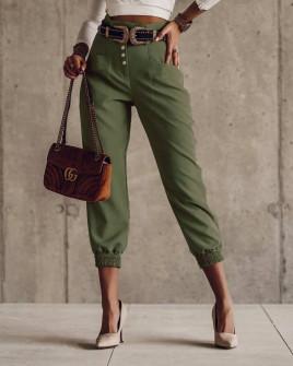 Γυναικείο ψηλόμεσο παντελόνι 0104 σκούρο πράσινο