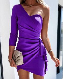 Γυναικείο φόρεμα με ένα μανίκι 3730 μωβ