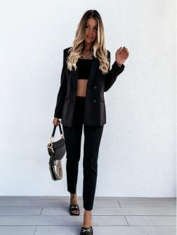 Γυναικείο σετ σακάκι με φόδρα και παντελόνι 5297 μαύρο