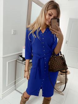Γυναικείο φόρεμα με τρουξ και ζώνη 3978 μπλε