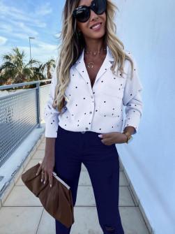 Γυναικείο πουκάμισο πουά 5242 άσπρο