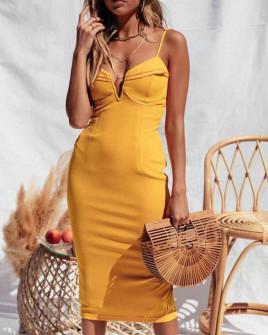 Γυναικείο φόρεμα με λεπτές τιράντες 8929 κίτρινο
