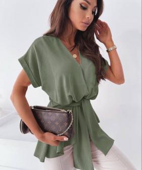 Γυναικεία μπλούζα με ζώνη 5605 χακί