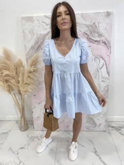 Γυναικείο φόρεμα πουά 21226 γαλάζιο