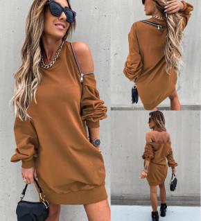 Γυναικείο μπλουζοφόρεμα με φερμουάρ 3911 καμηλό
