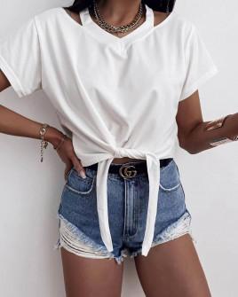 Γυναικεία μπλούζα με δέσιμο 2978 άσπρη