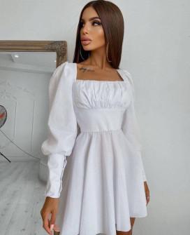 Γυναικείο φόρεμα με εντυπωσιακά μανίκια 55933 άσπρο