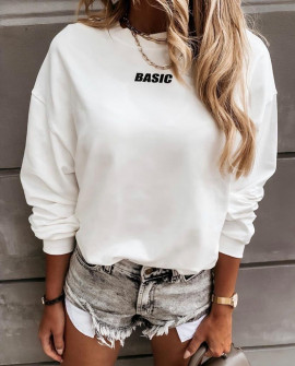 """Γυναικείο φούτερ """"BASIC"""" 3938 άσπρο"""