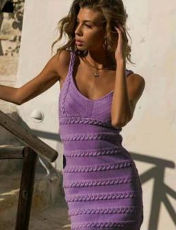 Γυναικείο πλεκτό φόρεμα 4582 μωβ