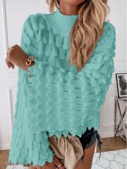 Γυναικείο πουλόβερ με φαρδύ μανίκι 00695 μεντα