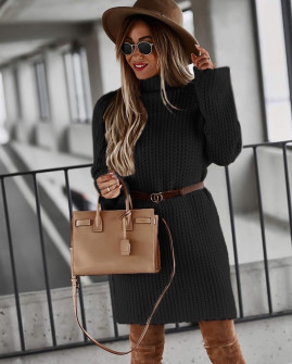 Γυναικείο πλεκτό μπλουζοφόρεμα 00811 μαύρη