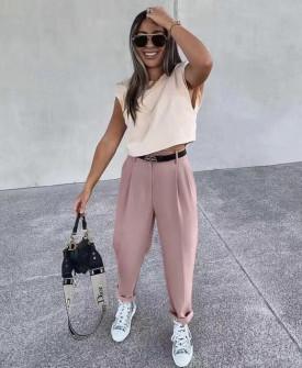 Γυναικείο παντελόνι με ζώνη 17386 ροζ