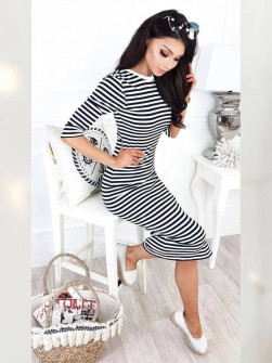 Γυναικείο φόρεμα ριγέ 3530 μαύρο