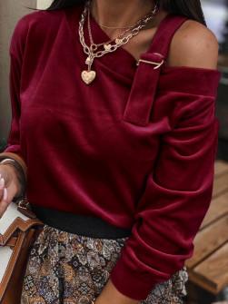 Εντυπωσιακή μπλούζα βελουτέ 5388 μπορντό