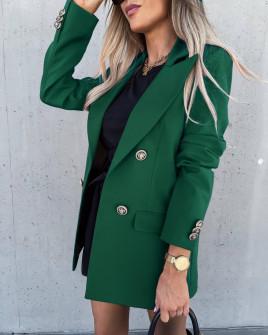 Γυναικείο μακρύ σακάκι με φόδρα 6075 πράσινο