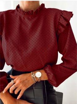 Γυναικεία μπλούζα πουά 5315 μπορντό