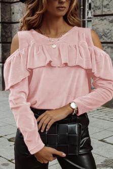 Γυναικεία μπλούζα βελουτέ 5385 ροζ