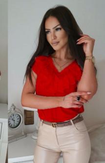 Γυναικεία μπλούζα με βαθύ ντεκολτέ 32941 κόκκινη