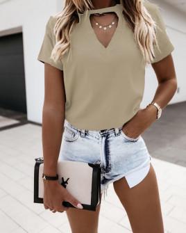 Γυναικεία κοντομάνικη μπλούζα 5167 μπεζ