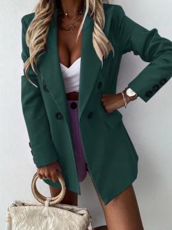 Γυναικείο μακρύ σακάκι με φόδρα 5306 πράσινο
