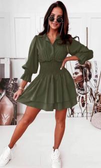 Γυναικείο φόρεμα με λάστιχο στη μέση 55671 χακί