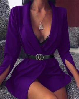 Γυναικείο σακάκι με σκίσιμο στο μανίκι 3994 μωβ