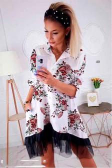 Γυναικείο φόρεμα με print και δαντέλα 502402 άσπρο