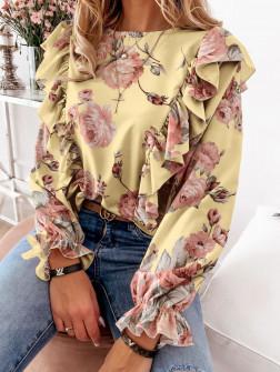Дамска блуза на цветя 8570 жълта