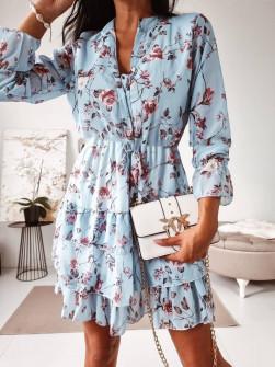 Γυναικείο φόρεμα με print και κουμπιά 397502