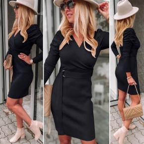 Γυναικείο φόρεμα με ζώνη 6046 μαύρο