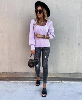 Γυναικείο πουλόβερ με φουσκωτό μανίκι 00758  μωβ